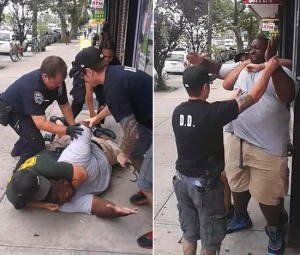 Still images of video of Eric Garner being choked to death by NYPD.