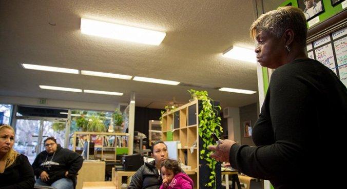 Gail Noble facilitates a weekly participatory defense meeting in San Jose, CA.